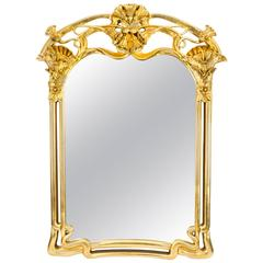 Beautiful Art Nouveau Style Carved Giltwood Mirror