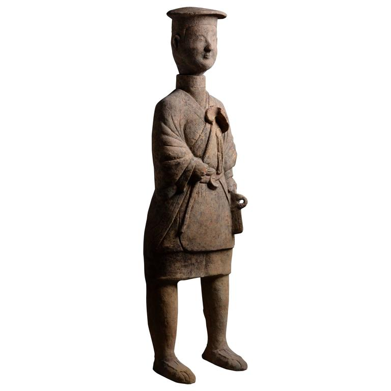 Huge Ancient Chinese Terracotta Farmer Figure, 25 AD