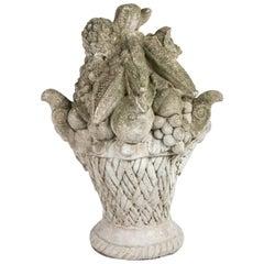 Cast Stone Garden Ornament, Basket of Fruit, circa 1920