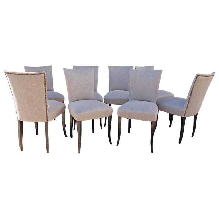 Set of Eight French Dining Chairs For Sale