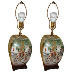 Pair of Chinese Export Porcelain Painted Ginger Jar Table Lamps