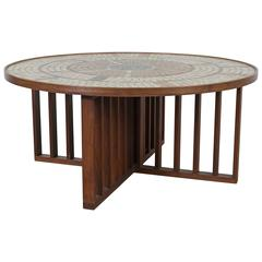 1960s Walnut Coffee Table with Mosaic Glass Tile Top