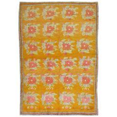 Vintage Turkish Konya Floral Carpet with Pink Flower Design
