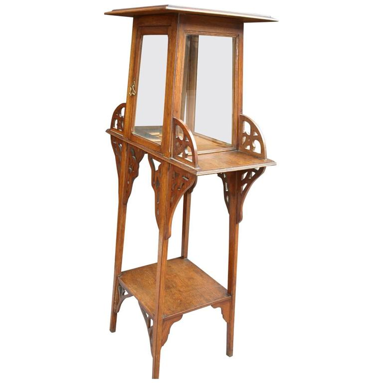 Antique jugendstil or art nouveau etagere table and bevelled glass display cabinet for sale at Display home furniture auction melbourne
