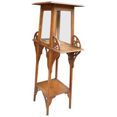 Rare Jugendstil or Art Nouveau Etagere Table / Stand with Glass Display Cabinet