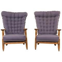 Pair of Guillerme et Chambron Grand Repos High Back Lounge Chairs