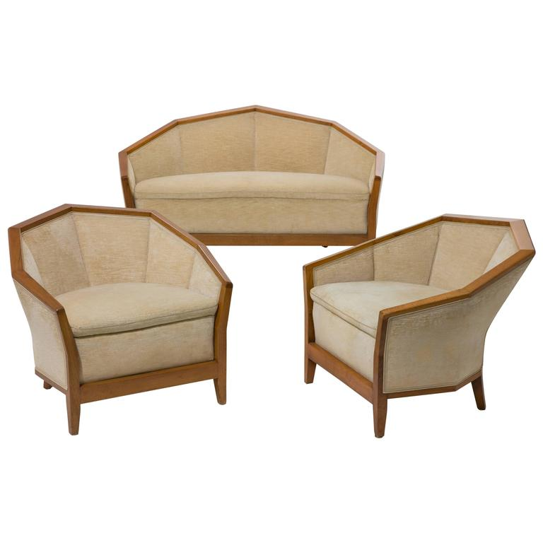 Pierre Chareau '1883-1950,' Settee and Two Armchairs in Walnut, Early 1920s