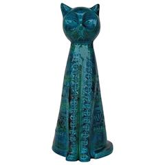 """Rimini Blue"" Ceramic Cat Sculpture by Aldo Londi for Bitossi"