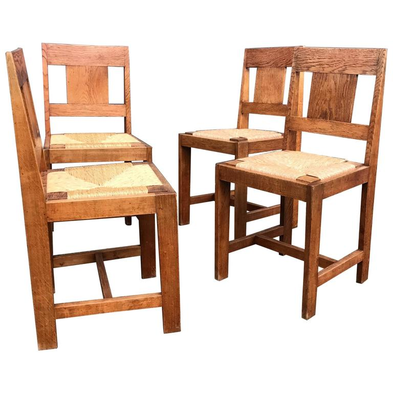 Early 1900s Set of Four Arts and Crafts Dining Chairs Gustav Stickley Style