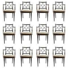 Set of Twelve Regency Style Dining Armchairs