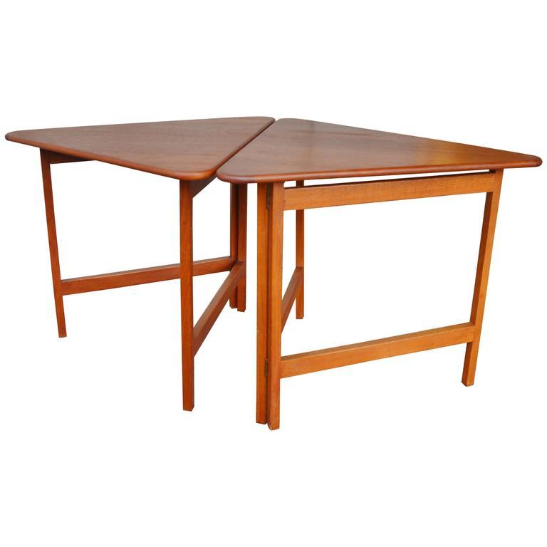 Pair Of Danish Teak Illum Wikkelsø Folding Coffee Or Side Tables For  Silkeborg For Sale