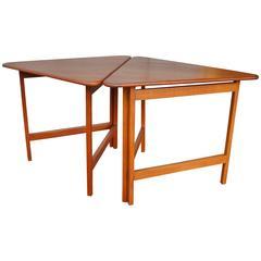 Pair of Danish Teak Illum Wikkelsø Folding Coffee or Side Tables for Silkeborg