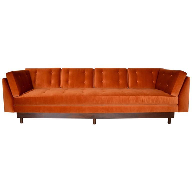 Orange Mid Century Sofa: Mid-Century Wormley Style 4-Seater Sofa In Orange Mohair