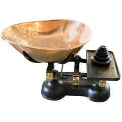 English Grocery Scale with Copper Tray