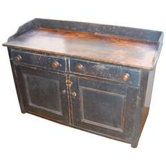 Two-Door, Drawer Original Painted English Buffet with Railing
