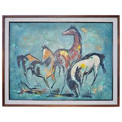 Original Large Painting Mid-Century Modern Horses by Carlo of Hollywood