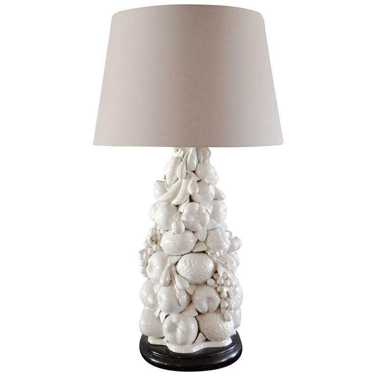 Italian Blanc de Chine Fruit Topiary Table Lamp