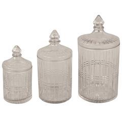 Set of three American Cut-Glass Graduated Covered Jars