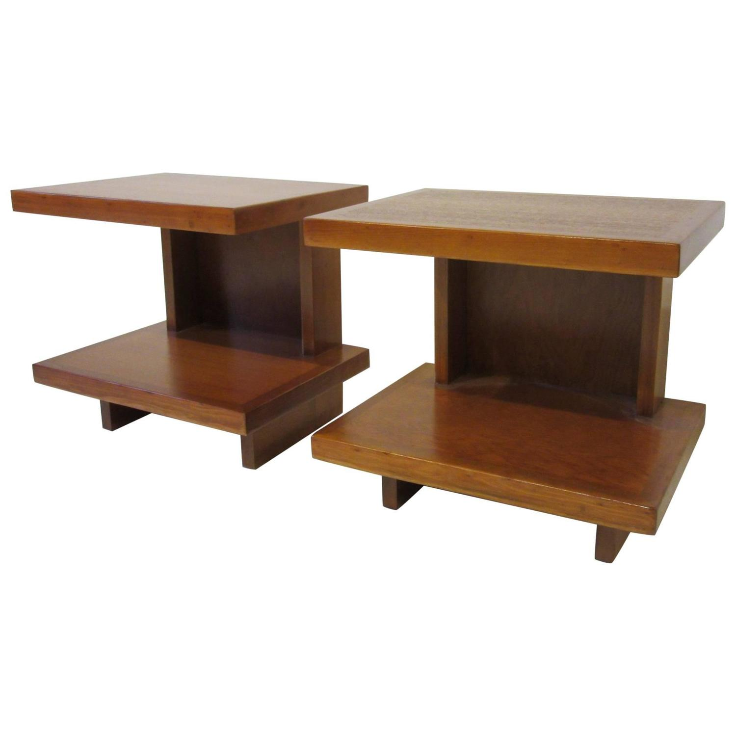 Important Frank Lloyd Wright Usonian Side Tables From The