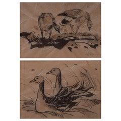 Leif Rydeng, Well Listed Danish Artist, Two Bird Studies