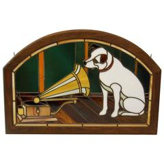 Stained Glass Panel Featuring the RCA Dog, Nipper in Wooden Frame