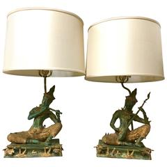 Pair of Exceptional Lamps with Thai Figures