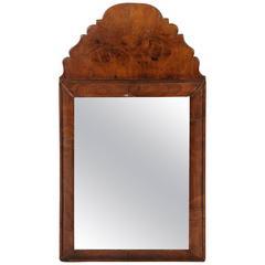 Charming English Burl Walnut Mirror of Small Size