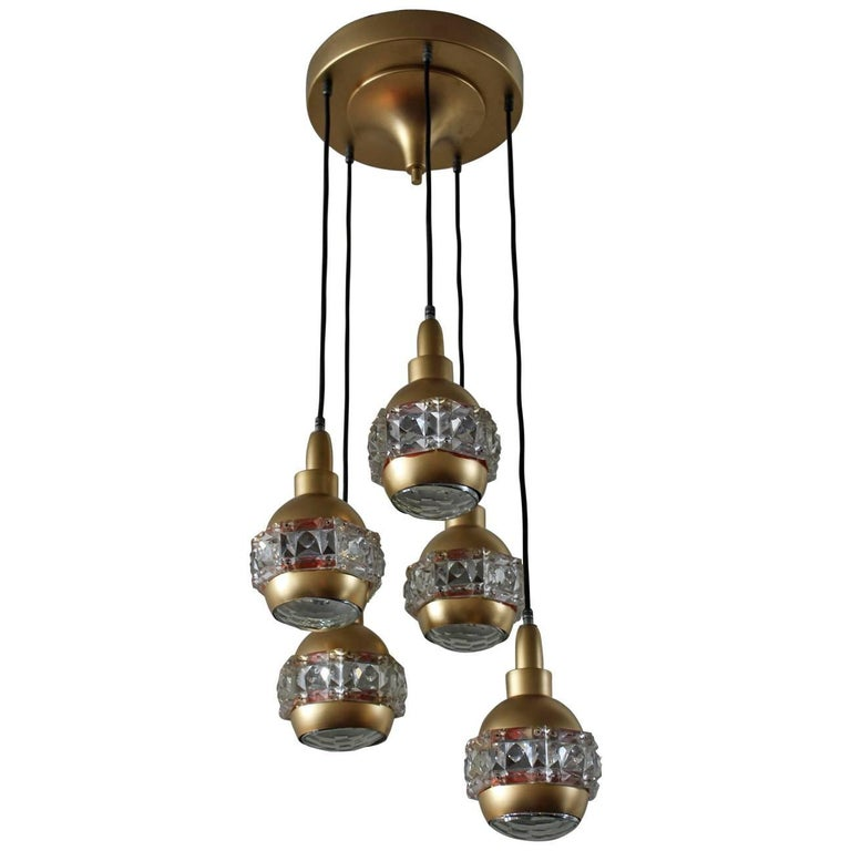 Italian Midcentury Chandelier Attributed to O'luce For Sale