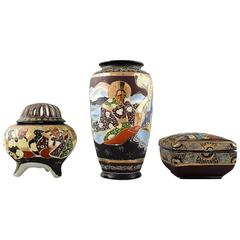 Satsuma Three Pieces, Vase, Lidded Box and an Incense Burner, Japan