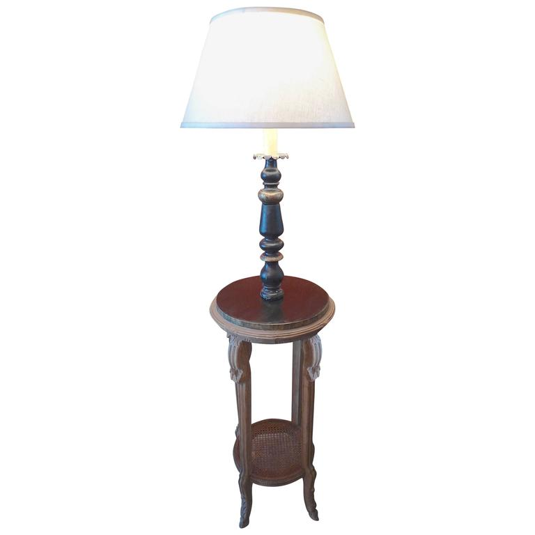 French 19th century Floor Lamp on Hand-Carved Pedestal with Bottom Wicker Shelf