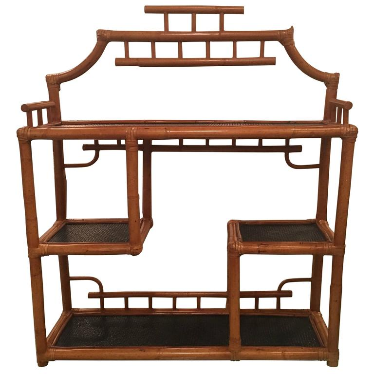 Pagoda Rattan Bamboo Wall or Floor Shelf Shelves Etagere Tropical ...