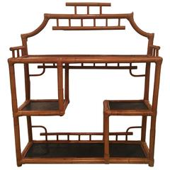 Pagoda Rattan Bamboo Wall or Floor Shelf Shelves Etagere Tropical Palm Beach