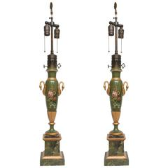Pair of Victorian Painted Tole Lamps