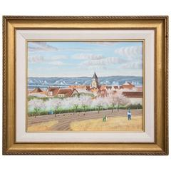 "Pierre Bazire ""Les Andelys au Printemps"" Framed Oil Painting on Board"