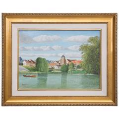 "Pierre Bazire ""Les Bords De La Marne"" Framed Oil Painting on Board"