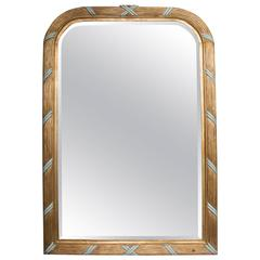 French Giltwood Mirror with Turquoise Accents