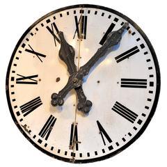 Large 1920s French Enamel Iron Clock Face