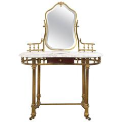 Brass and Marble Dressing Table