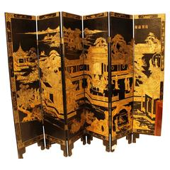 Exceptional 19th Chinese Hand-Painted Lacquered Wallpaper Screen