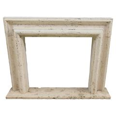 New Made Italian Fireplace in Travertine, Baroque Style, 19th Century