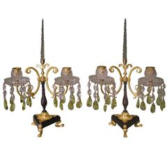 19th Century Bronze and Ormolu Two-Light Lustre Candelabra