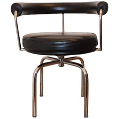 Black Leather Swivel Chair Cassina LC7 by Charlotte Perriand