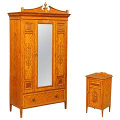 Gillows of Lancaster Satinwood Wardrobe and Bedside Cabinet
