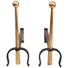 1950s-1960s Brass and Wrought Iron Pair of Andirons in the Style of Jean Royere