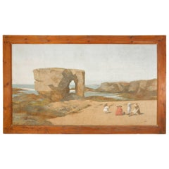 Large 19th Century Seascape Painting from the Brittany Coast