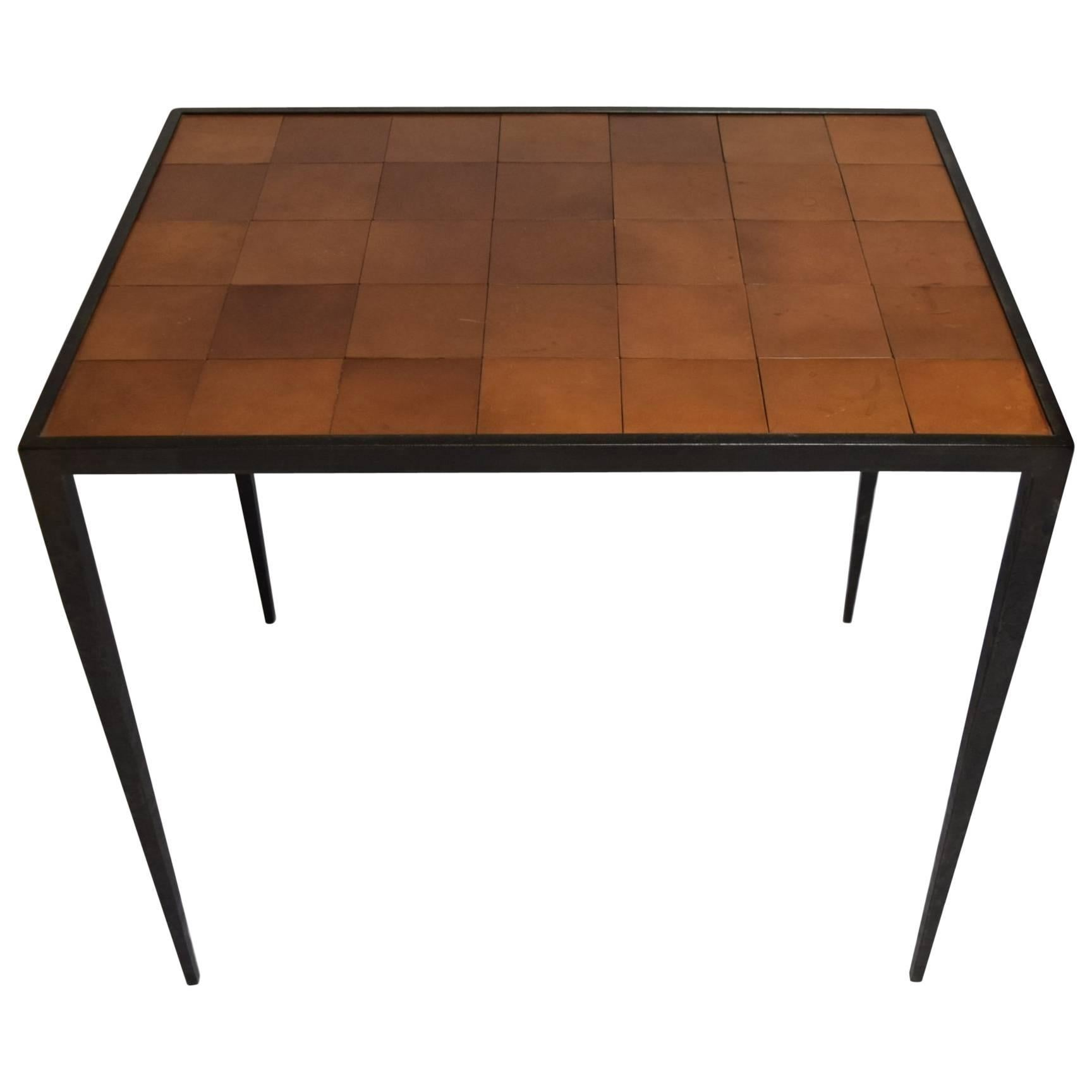 Table after Jean Michel Frank in Hammered Bronze and Leather, C. 1960