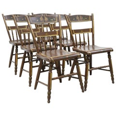 Set of Six Pennsylvania 1/2 Spindle Back Plank Seat Kitchen Chairs, circa 1870