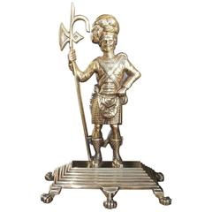 Scottish Brass Highlander Royalty Guard Doorstop, Circa 1840