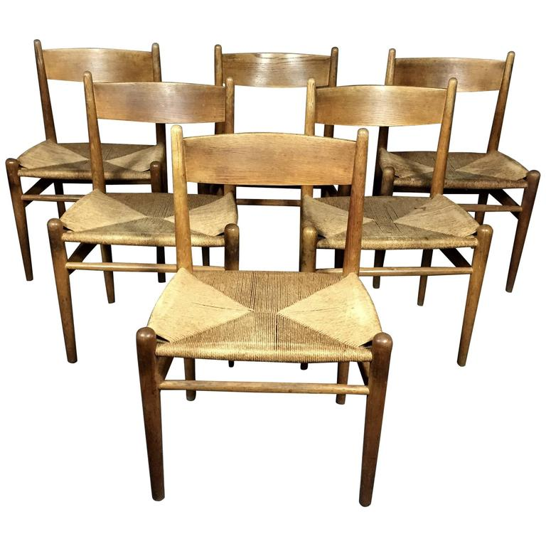 Hans J. Wegner Oak and Papercord Dining Chairs CH36, Denmark, 1962 For Sale