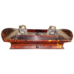 English Tortoise Shell Desk Set with Ink Wells, Circa 1820